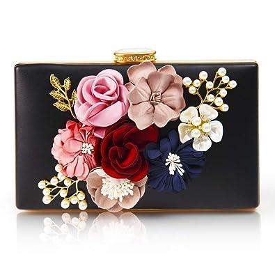 Amazon.com: Bolso de mano de piel con flores para mujer ...
