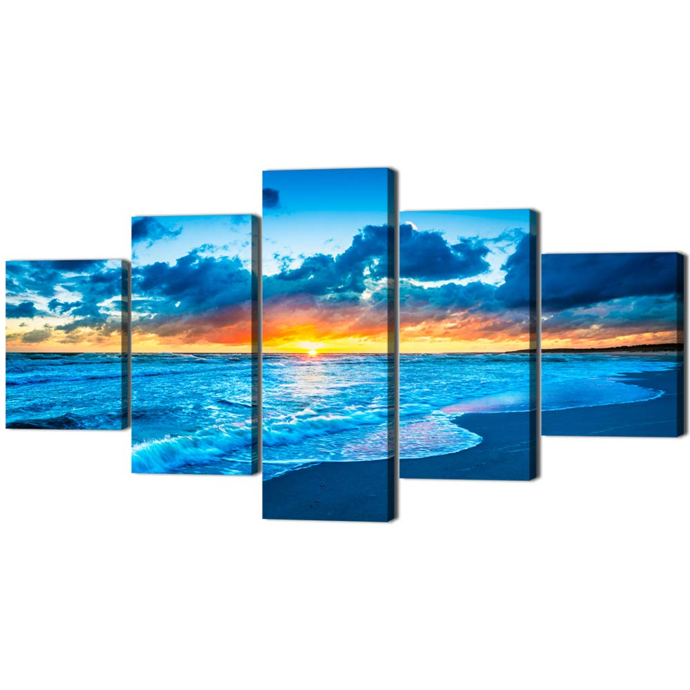 Navy Blue Beach Ocean Sunrise Modern Landscape Painting on Canvas 5 PCS,HD Print Picture Seaside Giclee Artwork Wall Art for Living Room Home Decor Wooden Framed Stretched Ready to Hang(60''W x 32''H)