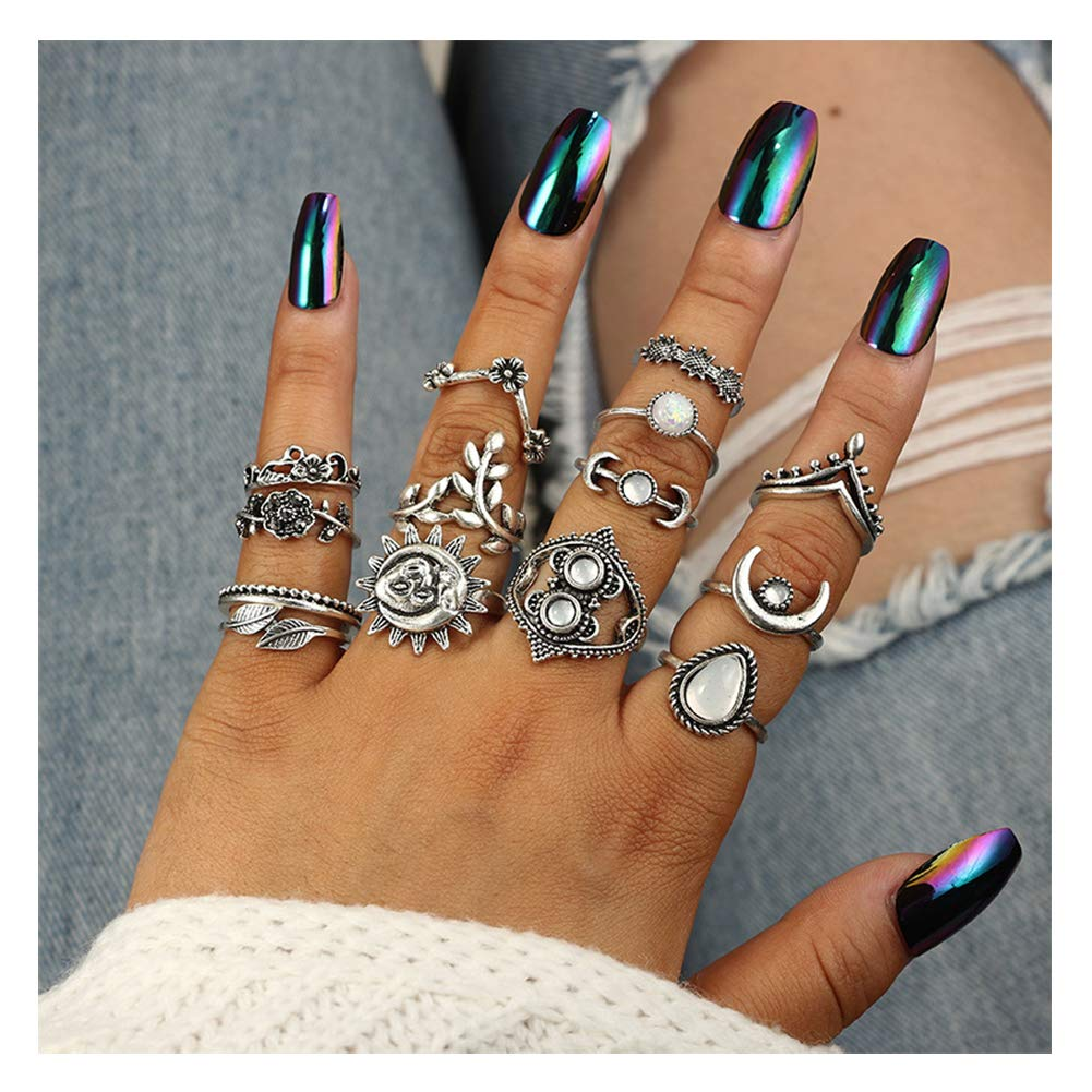 Eoumy Women Vintage Knuckle Rings Retro Moon Sun Leaf Crystal Stackable Midi Finger Ring Set