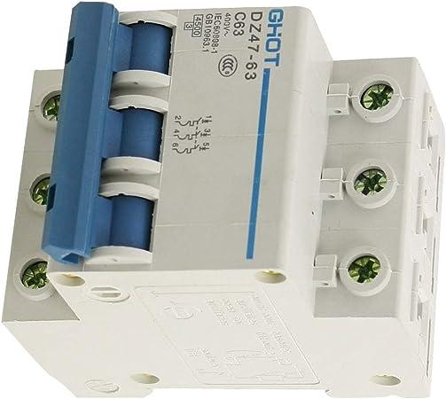 Aexit AC 3 p/ôles 63 A Type C//DZ 47-63 Interrupteur On//off Mini coupe-Circuit MCB 116F775