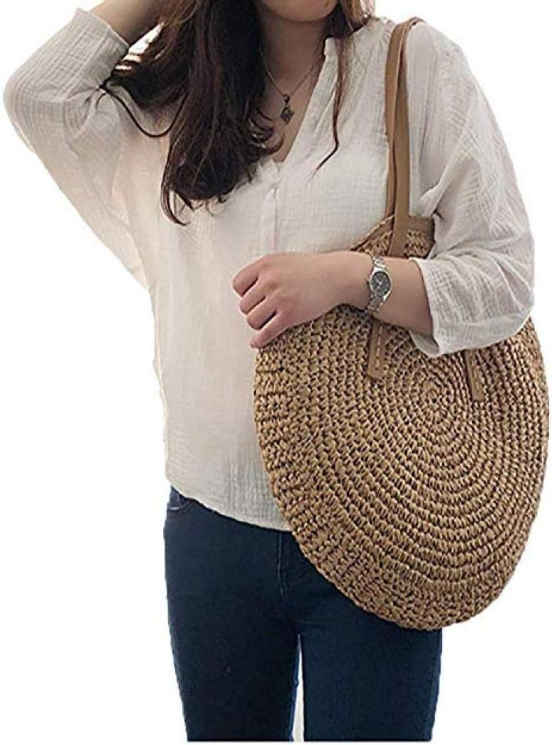 Brown Round Summer Straw Large Woven Bag Purse for Women Vocation Tote Handbags