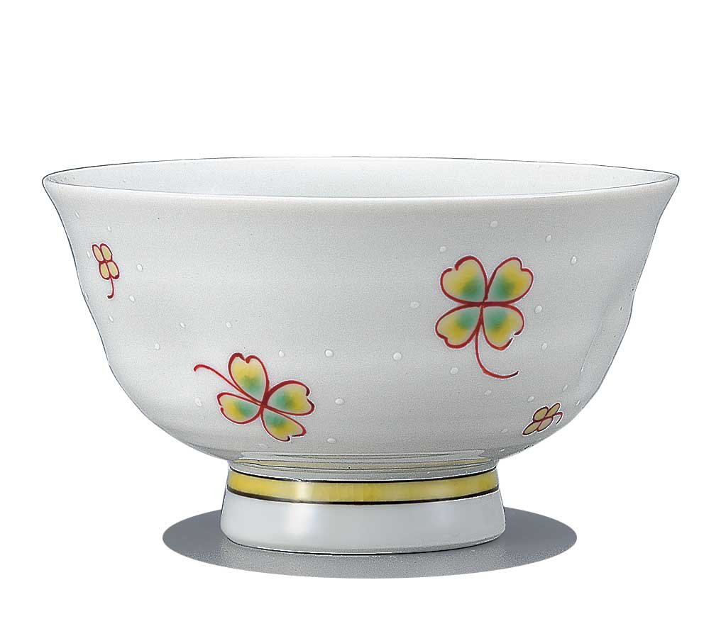 Japanese Rice Bowl Four leaves clover KUTANI YAKI(ware)