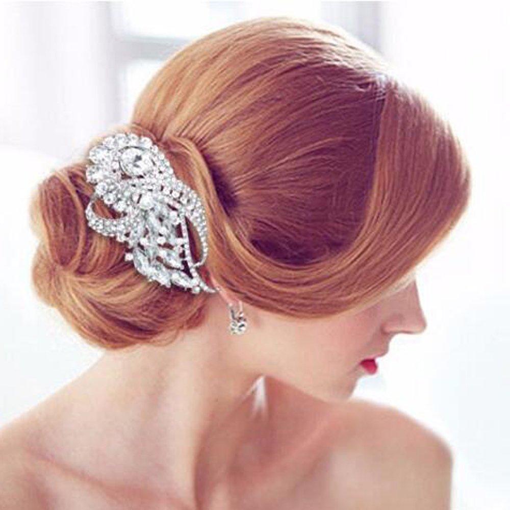 Missgrace Argent Cristaux Strass Floral de mariage Peigne Doré Peigne à cheveux Floral Cheveux de mariage accessoire de femmes et de mariage Doré Coiffe Accessoires Cheveux