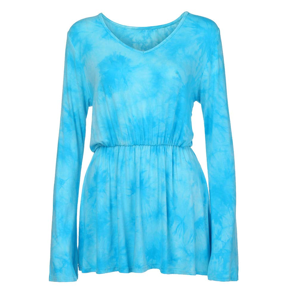 Hot Sale!KIKOY V-Neck Tie-Dye Print Long Sleeve Tops Pleated Waist Line Blouse