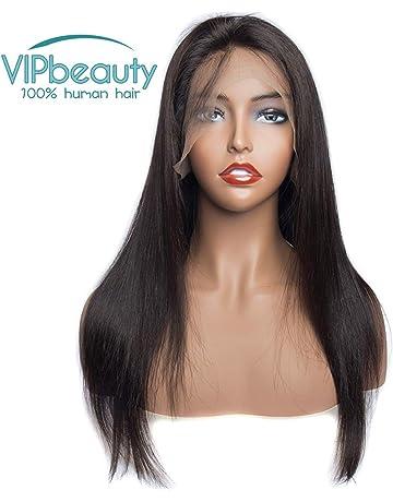 VIPbeauty Malasia virgen pelo humano liso encaje frontal pelucas 130% densidad pelo humano ajustable pelucas