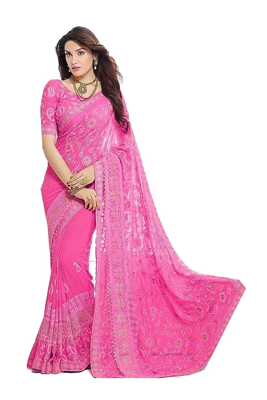 Pink 5 Da Facioun Indian Sarees for Women Designer Party Wear Traditional Sari.