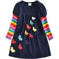 VIKITA Vestidos T-Shirt Manga Larga Algodón Casual Niñas 2-8 años