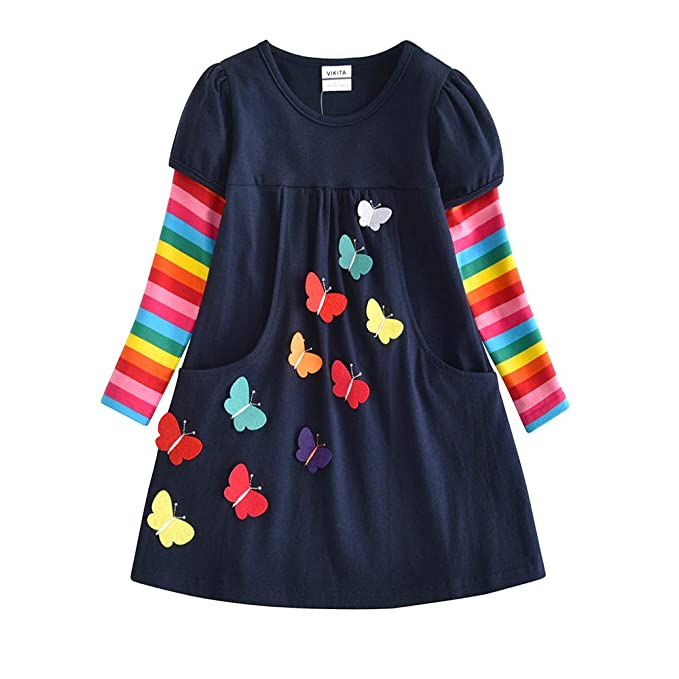1-8 Years Cotton Kids Baby Girls Dress Unicorn Striped Long Sleeve Party Dresses