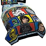 Star Wars Classic Grid Twin Comforter - Super Soft Kids Reversible Bedding - Fade Resistant Polyester Microfiber Fill (Official Product)
