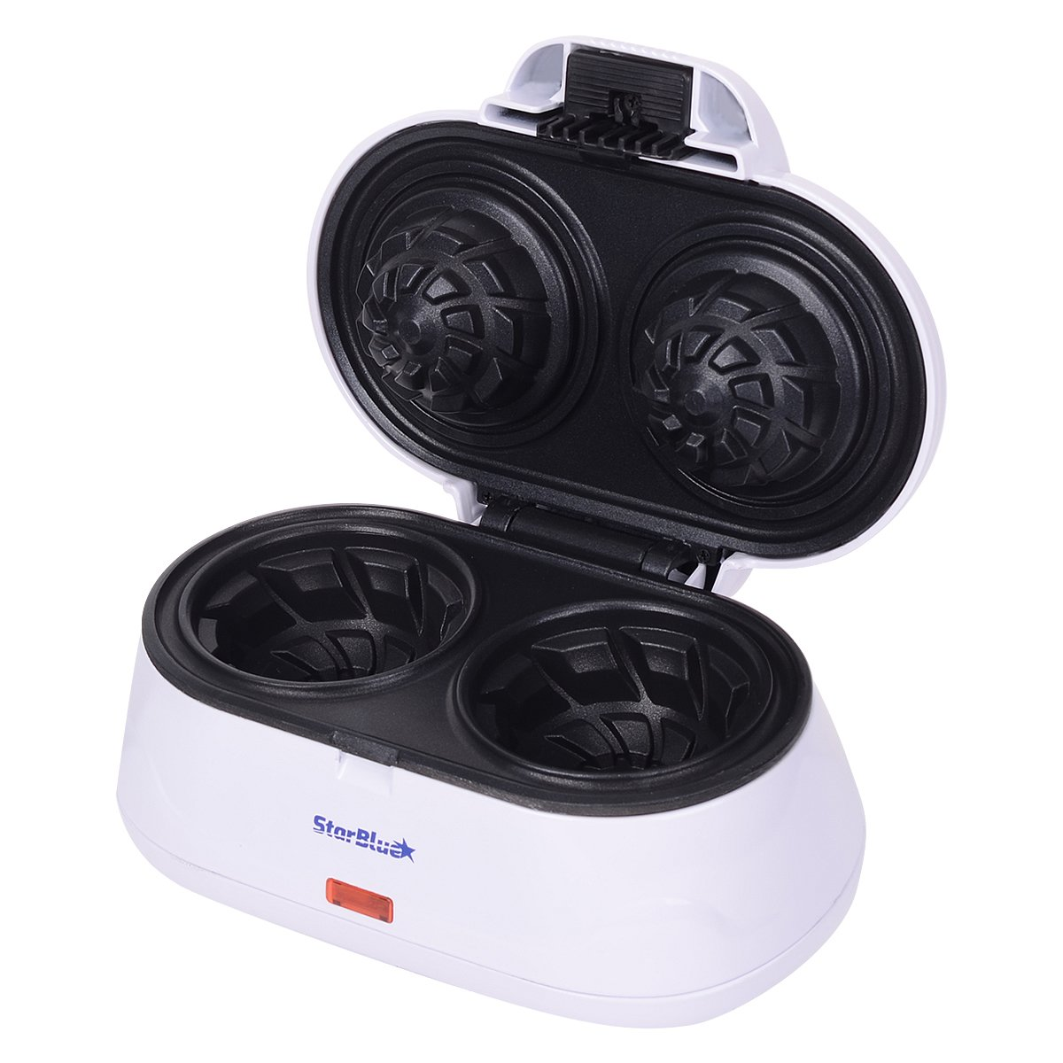 Double Waffle Bowl Maker by StarBlue - White - Make bowl shapes Belgian waffles in minutes | Best for serving ice cream and fruit | Gift ideas SB-SW2238D