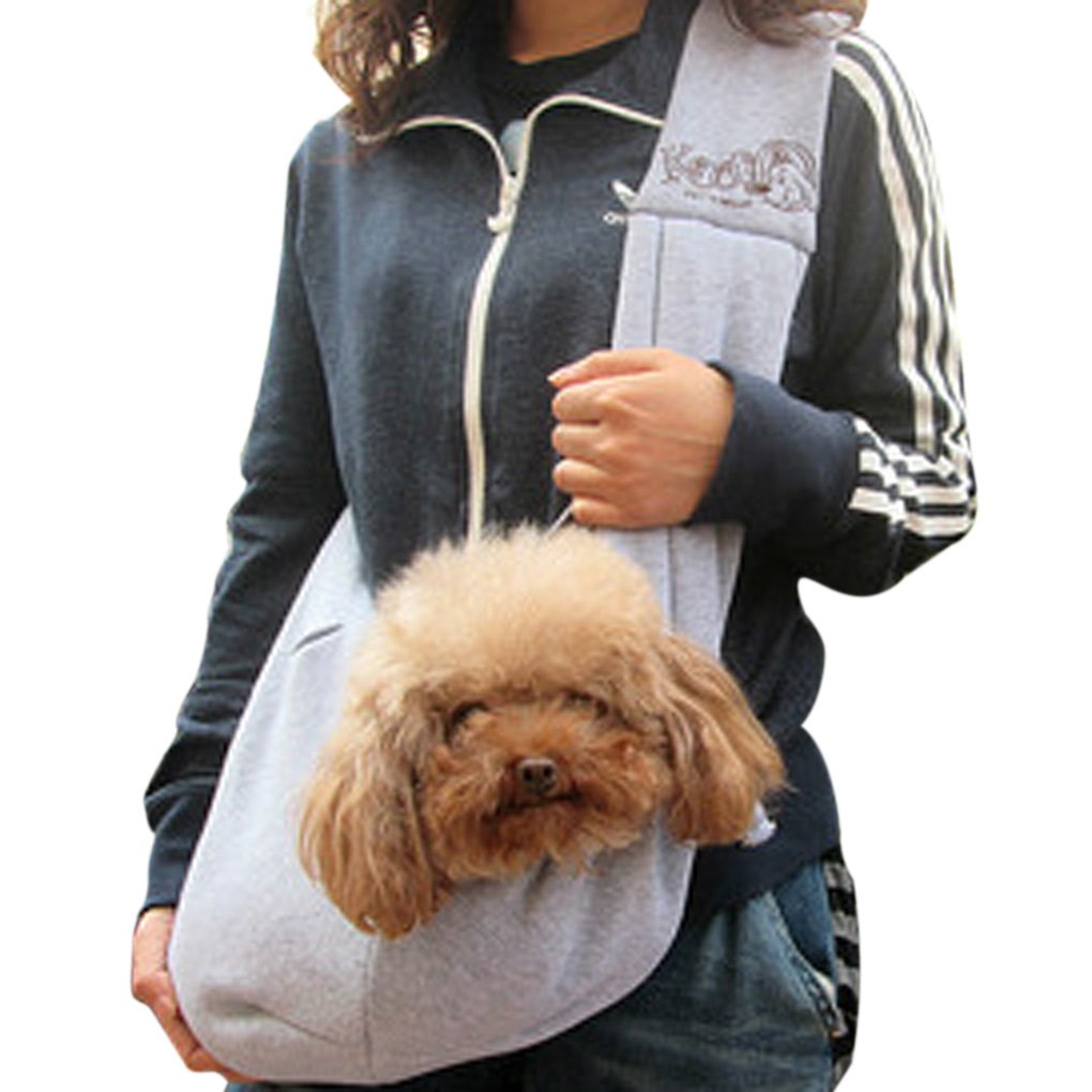 Reversible Safety Small Dog Cat Kitty Rabbit Sling Carrier Bag Outdoor Travel Soft Comfortable Cotton Puppy Pet Double-sided Pouch Holder Shoulder Carry Tote Handbag Messenger Bag (Gray)