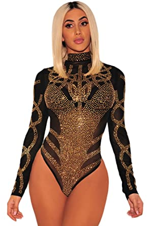 Womens bodysuit Black Gold Rhinestone Faux Bustier Mesh Long Sleeves 8 10 12 14