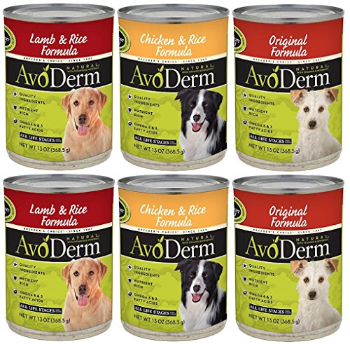 AvoDerm Natural Canned Dog Food 3 Flavor Variety Bundle: (2) Lamb & Rice Formula, (2) Chicken & Rice Formula, (2) Original Formula, 13 Oz Each (6 Cans Total)