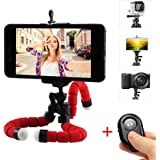 Cell Phone Tripod, Portable and Adjustable Camera Stand Holder with Wireless Bluetooth Remote and Universal Clip 360° Rotating Tripod Compatible with iPhone/Android Phone/Camera/Sports Camera GoPro