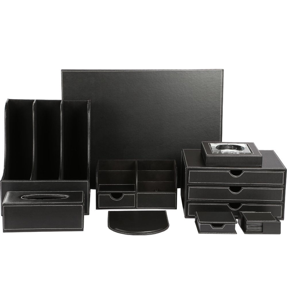 KINGFOM™ Office Desk Organizer Set T04-9PCS/Office Supply Eco-Friendly Synthetic Leather Desk Set include 3-slot Document Holder, Tissue Box Holder, 7-Compartment Stationery Organizer, Mouse Pad, Desk Pad, 3-Drawer File Cabinet, Notepaper Holder, Ashtra