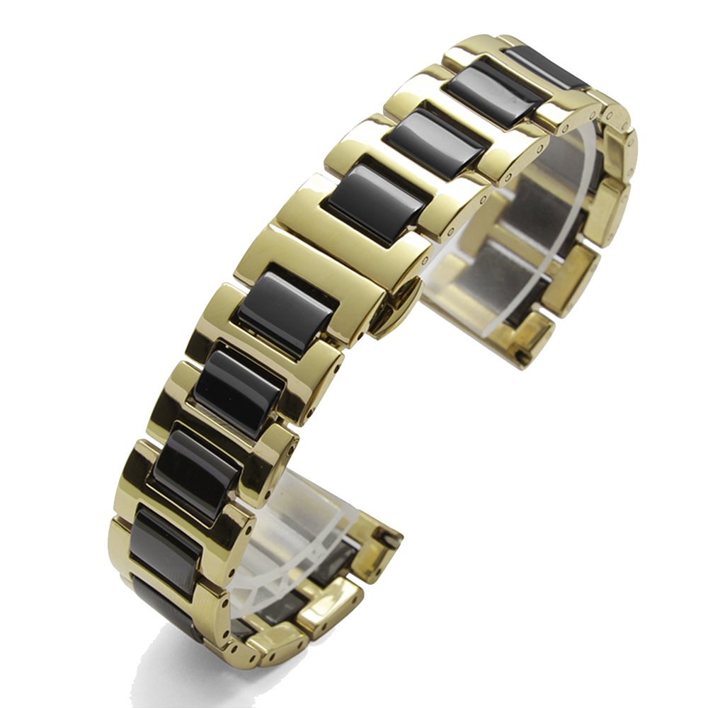 14 / 16 / 18 / 20 mmステンレススチールwith Ceramic Watch BandブレスレットGeneric for Titus , MK , Bulovaスタイル 18mm gold/blk 18mm|gold/blk gold/blk 18mm B078HTRG14