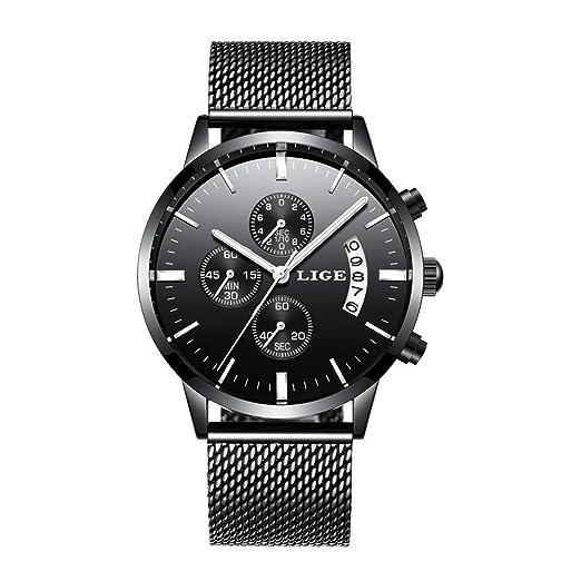 Relojes Hombre Luxury Brand LIGE Reloj de Cuarzo analógico Deportivo de Acero Inoxidable a Prueba de Agua Reloj de los Hombres de Estilo Casual Fecha Reloj ...