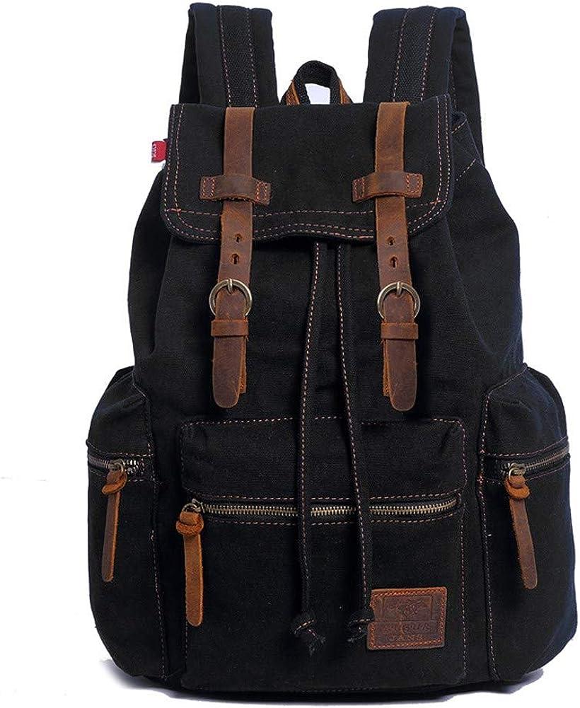 A.OAQRFA Mochila de hombre de moda, mochila de lona vintage, mochila de viaje para hombre, mochila para portátil de gran capacidad, mochila para hombre, 28x16x42cm Negro