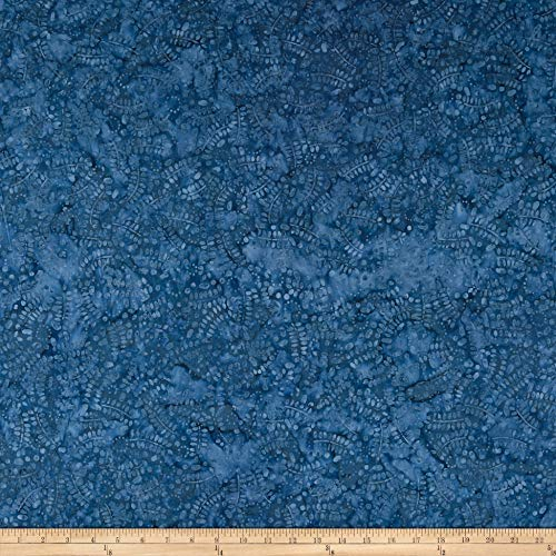 (Wilmington Batiks Leaves and Circles Blue Fabric by The Yard)