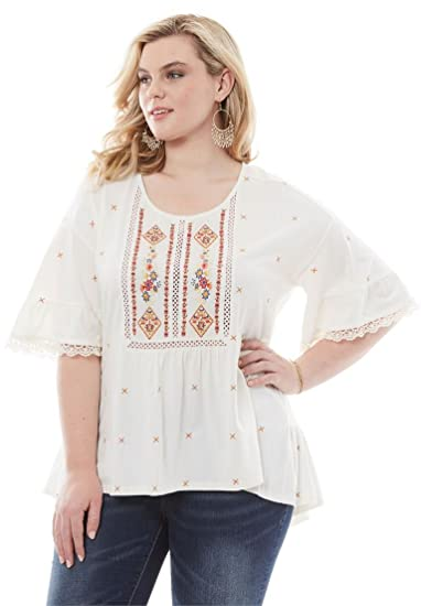 4ef6b8b8c6dac Roamans Women s Plus Size Embroidered Trapeze Top at Amazon Women s  Clothing store