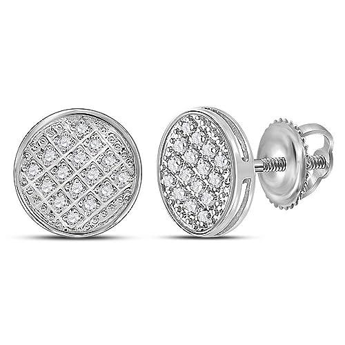 2537b73105b8 Jewels by Lux - Pendientes de oro blanco de 10 quilates para hombre con  círculo de diamante redondo