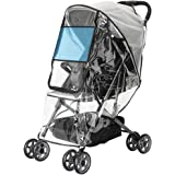 Emoly Upgraded Universal Stroller Rain Cover, Double Door Design & Large Storage Baby Stroller Weather Shield…