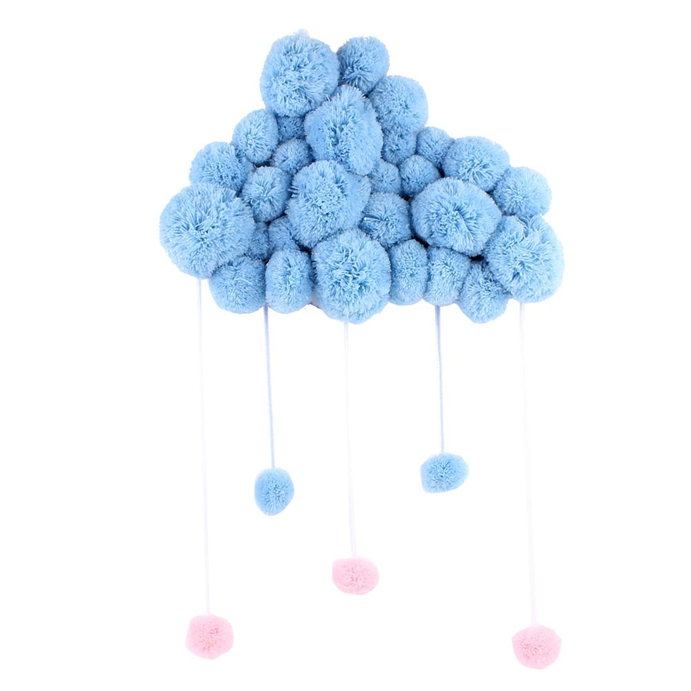 VORCOOL Nursery Ceiling Mobile Hanging Cloud Raindrops for Kids Room Baby Shower Wall Decorations (Blue)