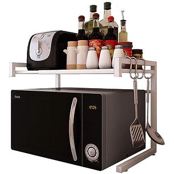 Estante de cocina para microondas y horno, ajustable, multifunción, acero inoxidable, 43