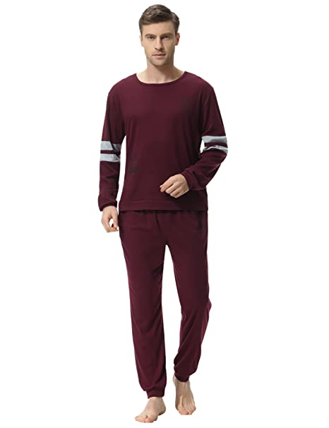 25d0891b8c33 Aibrou Mens Pyjama Sets Mens Cotton Loungewear Set Cotton Sleepwear Set  Full Length Gents for All Seasons (Red-Style D