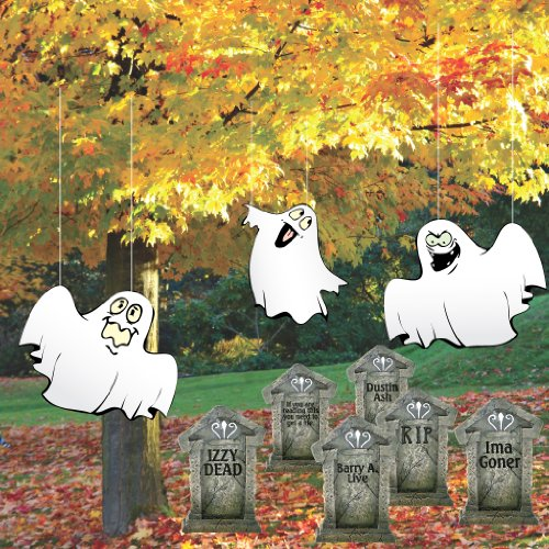 (VICTORYSTORE.COM Halloween Lawn Decorations Corrugated Plastic Ghosts in Graveyard)