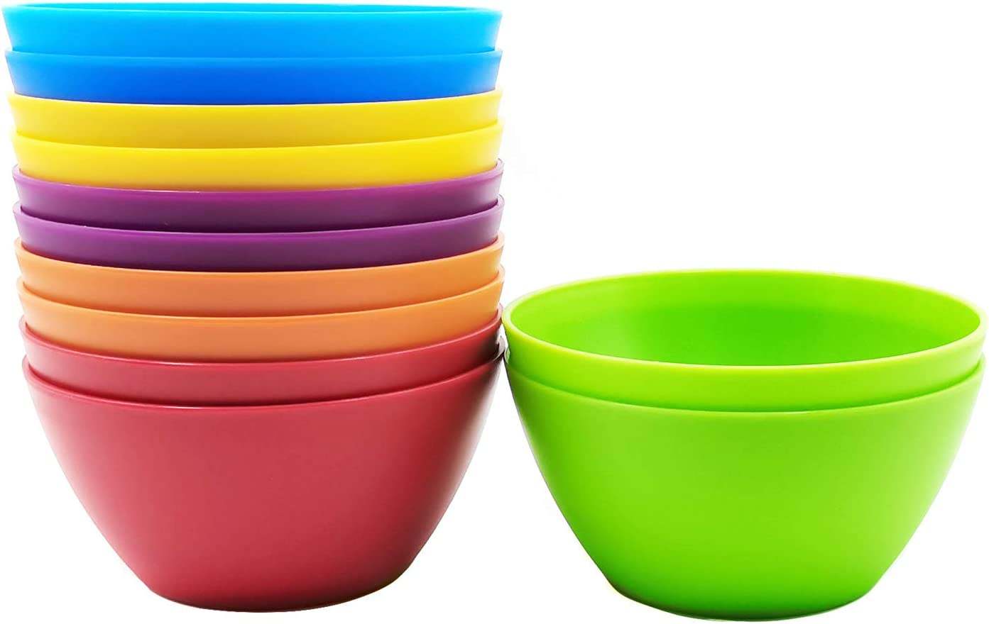 28-ounce Plastic Bowls for Cereal or Salad, set of 12 in 6 Assorted Colors | Microwave/Dishwasher Safe, BPA Free
