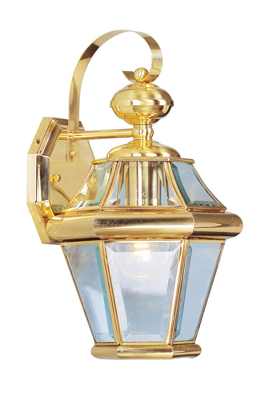 Livex Lighting 2161-02 Outdoor Wall Lantern with Clear Beveled Glass Shades, Polished Brass