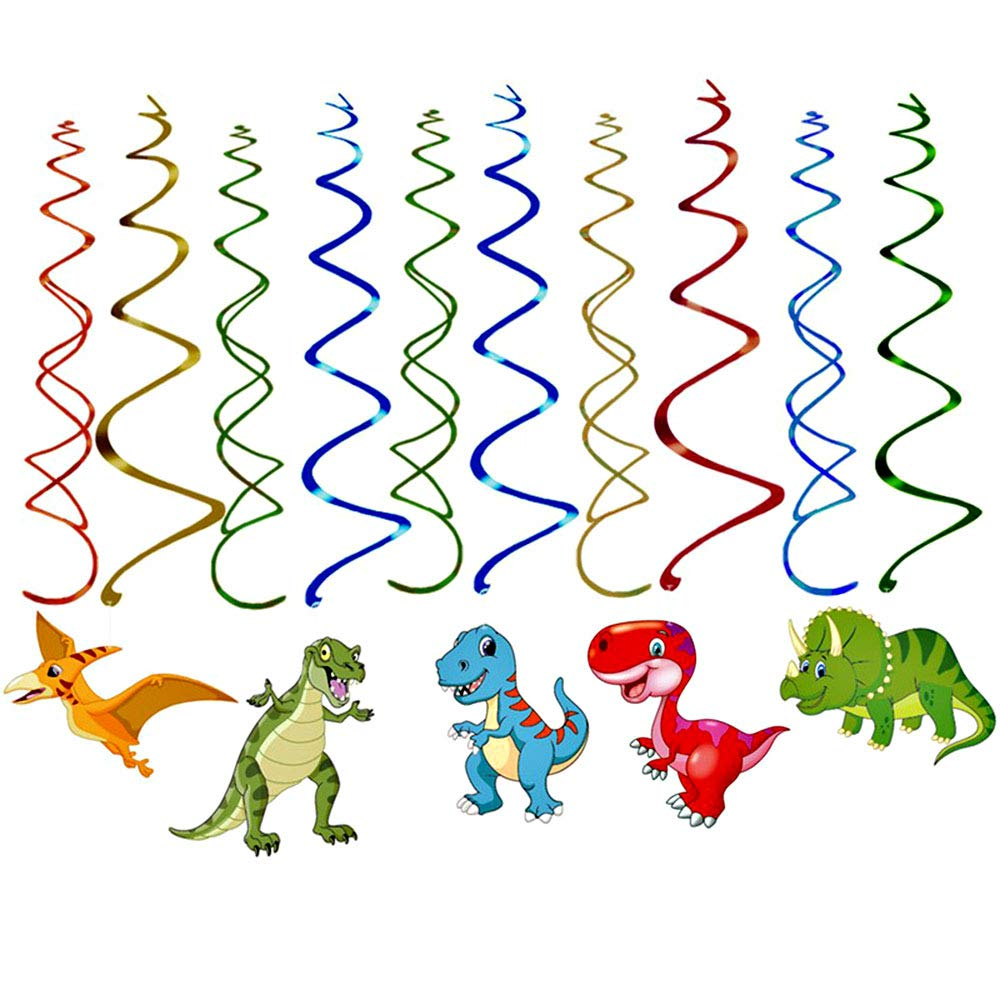 Keleily Kit de decoraci/ón de tema de dinosaurio Banner de feliz cumplea/ños suministros de remolino colgantes y globos de dinosaurio para fiesta de cumplea/ños Dino verde, 36PCS