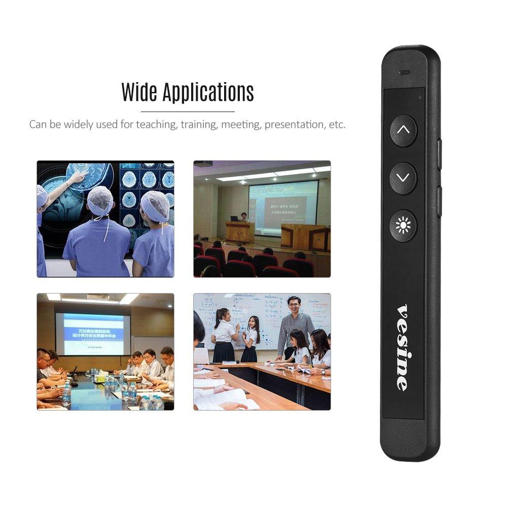 Aibecy 2.4GHz Presentador inal/ámbrico Powerpoint PPT Clicker 100m pluma del control remoto
