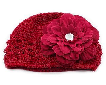 Rot Blume Spange Kinder Haarschmuck Häkeln Hut Mütze Fr Baby Mädchen