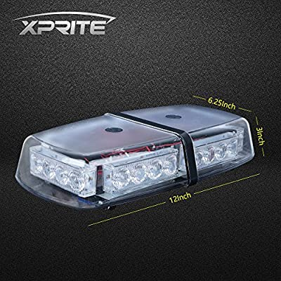 Xprite Red High Wattage Law Enforcement Emergency Hazard Warning LED Mini Bar Roof Top Strobe Light with Magnetic Base: Automotive