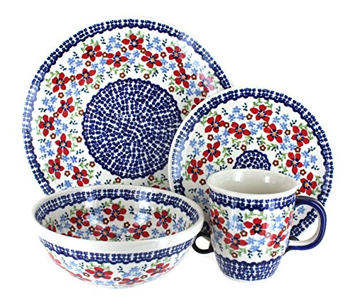 Piece Rose 4 Setting Place (Blue Rose Polish Pottery Red Poppy 4 Piece Place Setting)