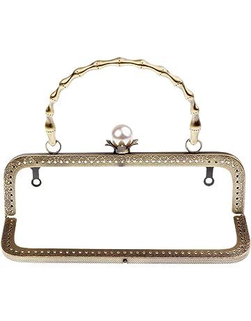 b93cd2b082 Baoblaze 20cm Metallo Cornice Quadrata Perla Perlina Chiusura Accessori per  Borsa Fai Da Te