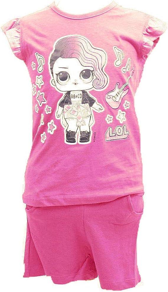 LOL Conjunto para playa, con camiseta de manga corta y pantalones cortos, para niña rosa 3 años: Amazon.es: Ropa y accesorios