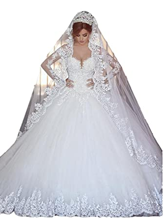 Bridess Womenu0027s Lace Sweetheart Ball Gown Wedding Dress Long Sleeve Ivory 2