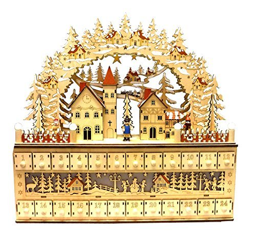 One Hundred 80 Degrees Bavarian Style Wooden Christmas Advent Calendar w/Drawers (Alpine Village Scene)