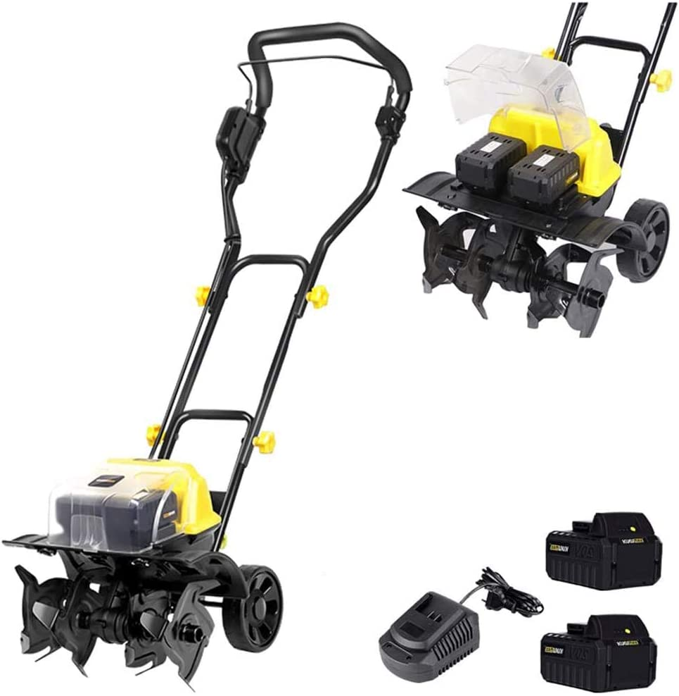 Electric Scarifier Cordless 40V Handheld Rotavator with Rechargeable Battery, 18Cm Working Depth, Portable Electric Tiller for Gardens, Vegetable Plots, Greenhouses