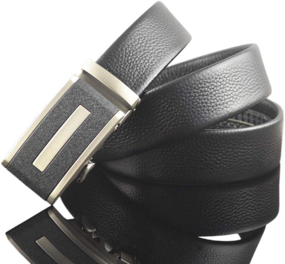 DENGDAI Mens Belt Leather Automatic Buckle Male Belt Length 110-130cm