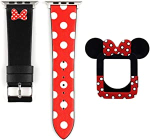 Polka Dot Bowknot Band and Case Lovely Leather Wristband Strap Cute Soft Protective Bumper Cover Compatible with 38mm Apple Watch Series 3 2 1, Black Silicone Case
