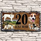 Custom Jack Russell Dog House Slate Personalised Pet Name Number Sign - 30cm x 15cm by Krafty Gifts