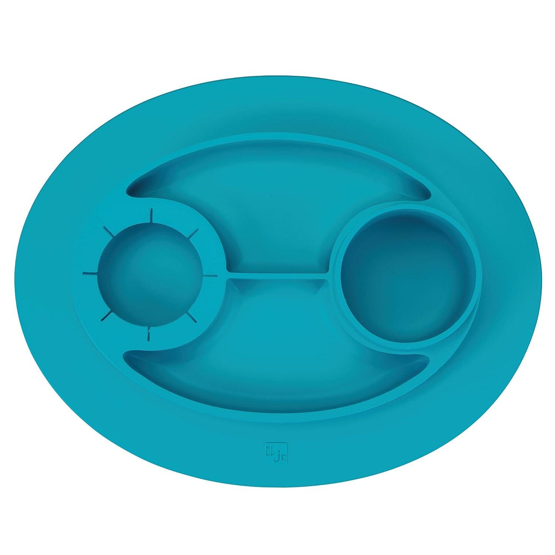 InterDesign IDjr Plato para ni/ños turquesa vajilla infantil antideslizante y de silicona con portavasos