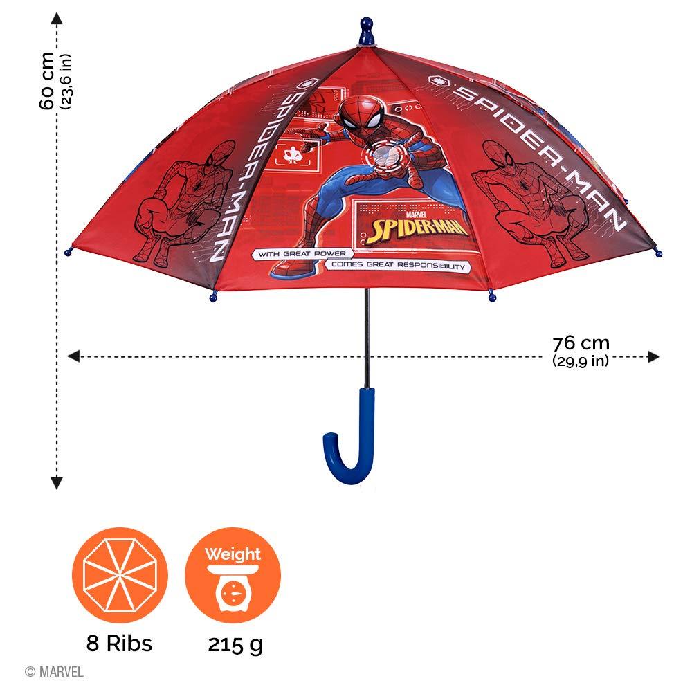 3//6 Ans Diam/ètre 76 cm Rouge Parapluie Enfant Marvel Spiderman Long R/ésistant au Vent en Fibre de Verre Ouverture de S/écurit/é Perletti Parapluie Solid Spider Man Gar/çon PFC Free