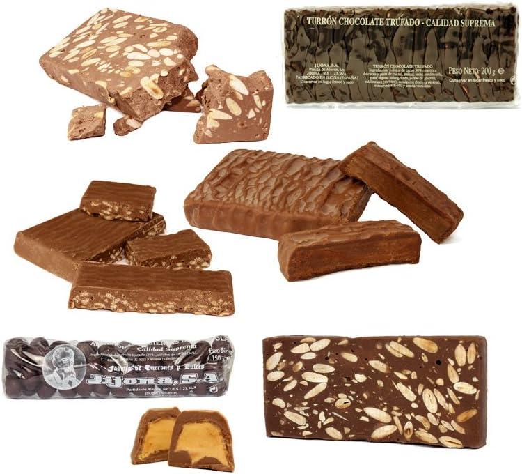 Lote Chocolatero de 7 Turrones y Peladillas de Chocolate. 1,5 KG. – Turrones Fabián - Pack de Turrón (2 x 300 G + 3 x 200 G + 2 x 150 G) -