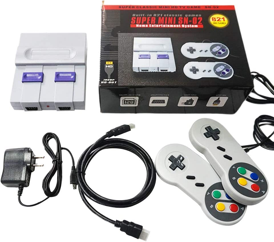 BINGHONG3 Consola de Juego Super Mini SNES NES Retro Classic Video TV Game Player Integrado 821 Juegos con Dual Gamepads