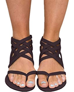 31ecf93551779c Fashare Womens Criss Cross Strappy Thong Buckle Zip Gladiator Flip Flops  Flat Sandals